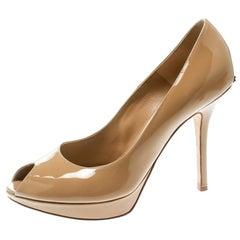 Dior Beige Patent Leather Miss Dior Peep Toe Pumps Size 38.5