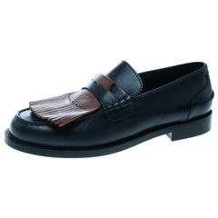 Burberry Dark Blue Leather Bedmoore Fringe Detail Penny Loafers Size 45