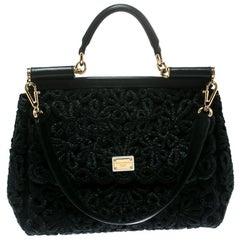 Dolce and Gabbana Black Crochet Raffia Large Miss Sicily Top Handle Bag