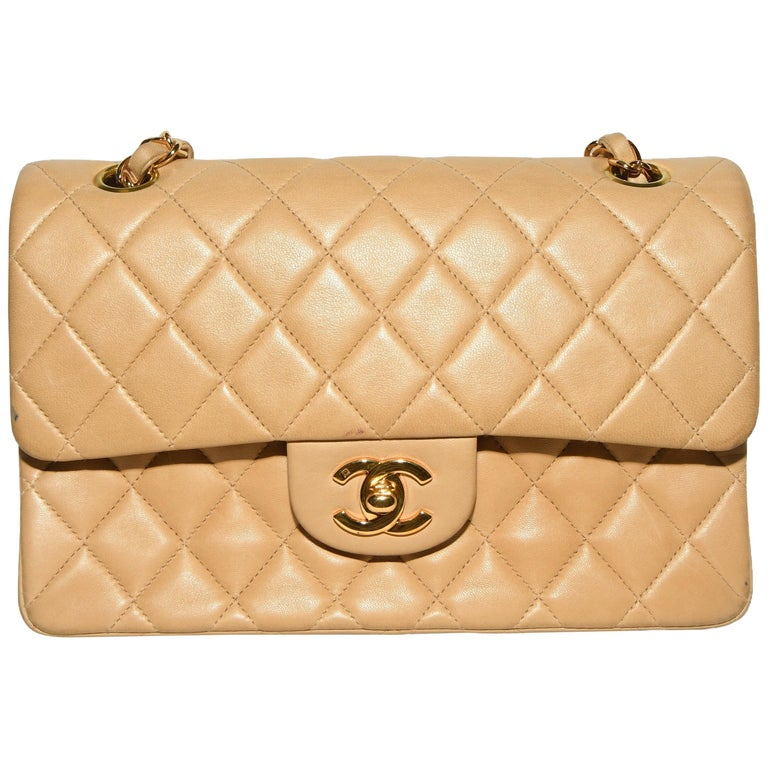 dd10f8436db48 Chanel Double Flap Beige Quilted Bag For Sale. Chanel quilted leather  classic medium ...