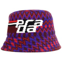 Prada Red/Purple Cashmere/Wool Chevron Motif Bucket Hat Sz M