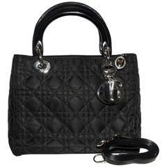 Christian Dior Black Cannage Medium Top Handle  Lady Dior Bag