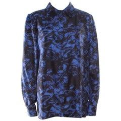 Sonia Rykiel Purple Abstract Printed Silk Button Front Shirt L