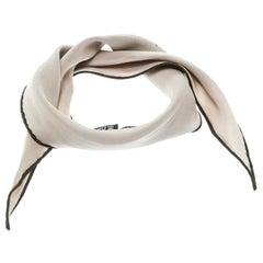 Hermes Beige Silk Contrast Edged Logo Print Mini Losange Scarf