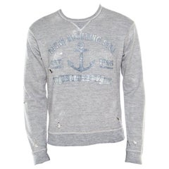 Dsquared2 Grey Cotton Melange Crew Neck Distressed Sweatshirt S