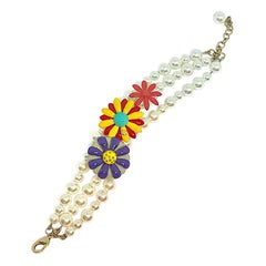 Chanel 2017 Enamel Flower & Pearl Bracelet