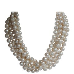 White Cultured Nugget Pearls 925 Sterling Silver Clasp Necklace