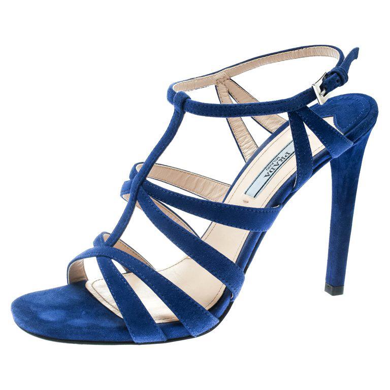 b33c64205de Prada Blue Suede Cross T Strappy Sandals Size 38.5