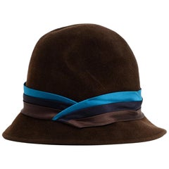 Eugenia Kim Brown Felt Hat W/ Tricolor Silk Trim
