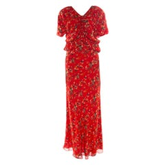 Dior Red Printed Gathered Ruffle Detail Maxi Dress S