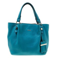 Tod's Turquoise Leather Top Handle Shoulder Bag