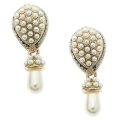 Valentino Faux Pearl Gold Tone Clip-on Drop Earrings