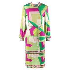 EMILIO PUCCI c.1960's Signature Print Silk Knit Coppola E Toppo Shift Dress