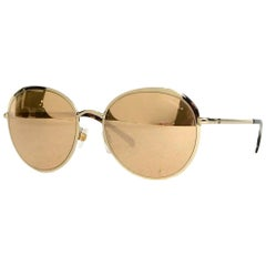 Chanel 18K Gold Mirrored Lenses & Metal Rounded Sunglasses W/ Case rt. $530