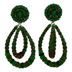Francoise Montague Large Green Lolita Clip Earrings