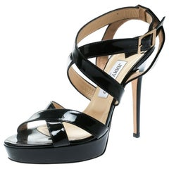 Jimmy Choo Black Patent Leather Vamp Platform Sandals Size 40