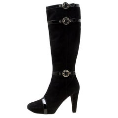Casadei Black Suede Knee Length Boots Size 38.5