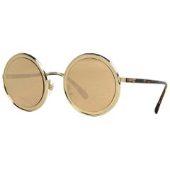 Chanel 18K Pale Gold Mirrored Lenses & Metal Round Sunglasses W/ Case rt. $635