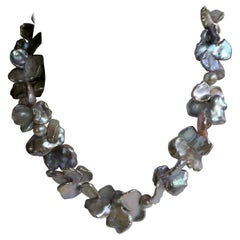 Natural Cultured Keshi Pearls Cultured Pearls 925 Sterling Silver Necklace