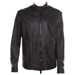 Emporio Armani Black Black Lamb Leather Zip Front Biker Jacket XXL