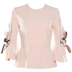 Roksanda Ilincic Blush Pink Crepe Bow Detail Kemi Peplum Top S