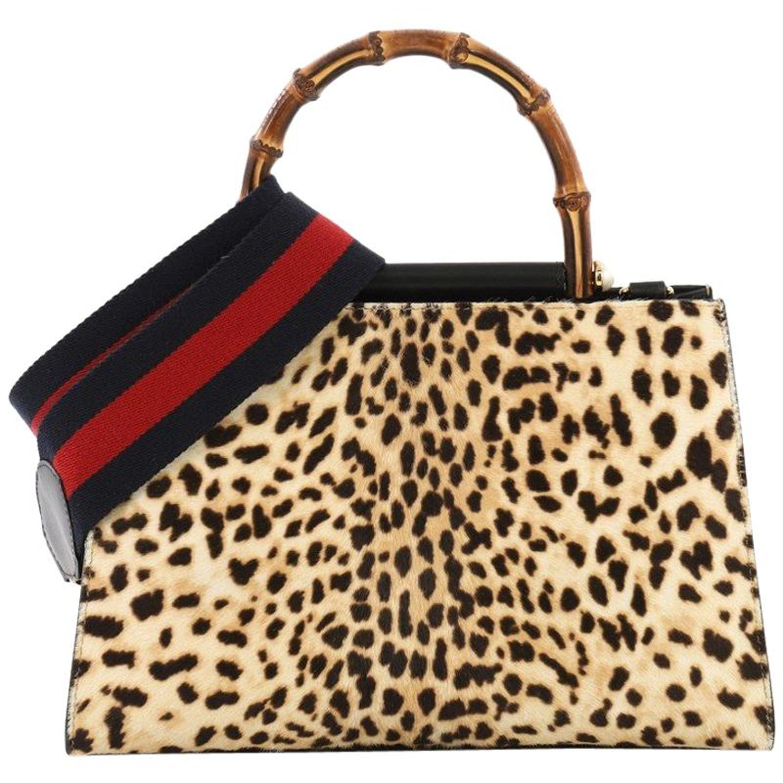 b8acf567356 Gucci Nymphaea Top Handle Bag Printed Calf Hair Small at 1stdibs