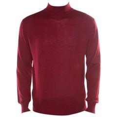 Brioni Burgundy Cashmere Silk High Neck Sweater M