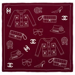 "Chanel Maroon 22"" Silk Square Scarf W/ Iconic Motif Print"
