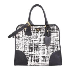 9d0a8bfb5685 Prada Bicolor Cuir Covered Strap Double Tote City Calfskin Medium at ...