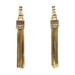 Lanvin Goldtone Chain Tassel Clip On Earrings W/ Crystals
