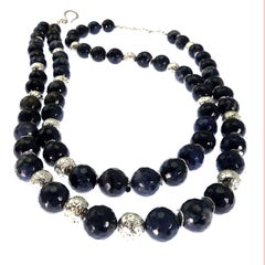 Gemjunky Faceted Blue Dumortierite With Silver Double Strand necklace