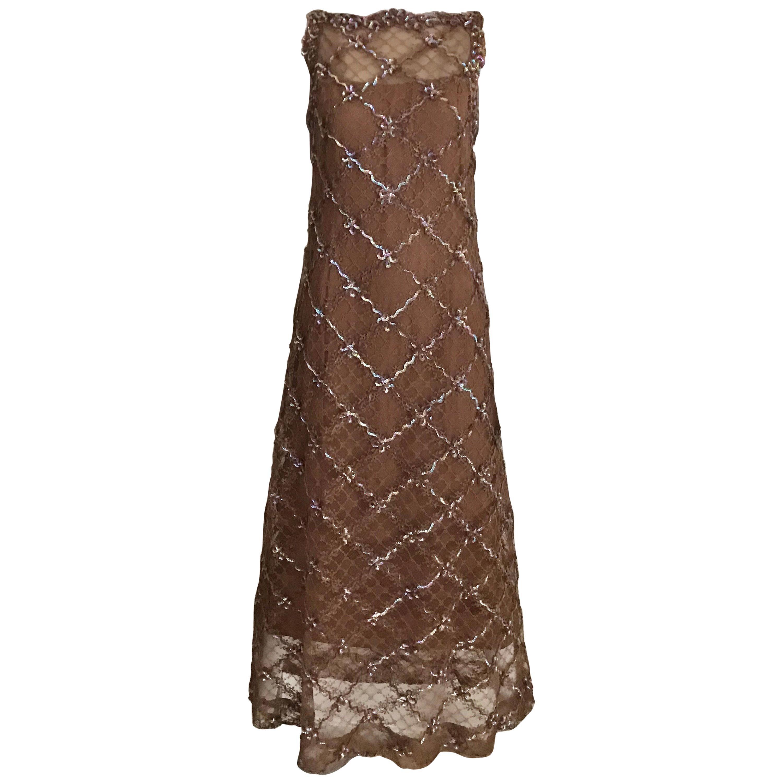 Vintage Malcolm Starr Mocha Brown Lace Maxi Cocktail Dress
