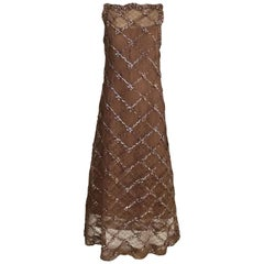 Vintage Malcolm Starr Mocha Brown Lace Maxi Cocktail Dress