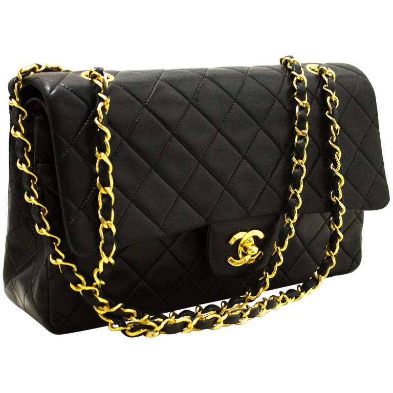 47bc5d70df0015 CHANEL 2.55 Double Chain Flap Shoulder Bag Black Quilted Lambskin For Sale