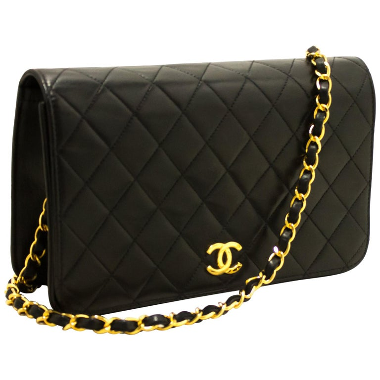 3cd1dfe917e8 CHANEL Chain Shoulder Bag Black Clutch Flap Quilted Lambskin at 1stdibs