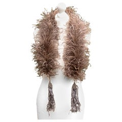 Art Deco 1920s 1930s Cocoa Brown Ostrich Feather Boa with Grey Tassels, Paris