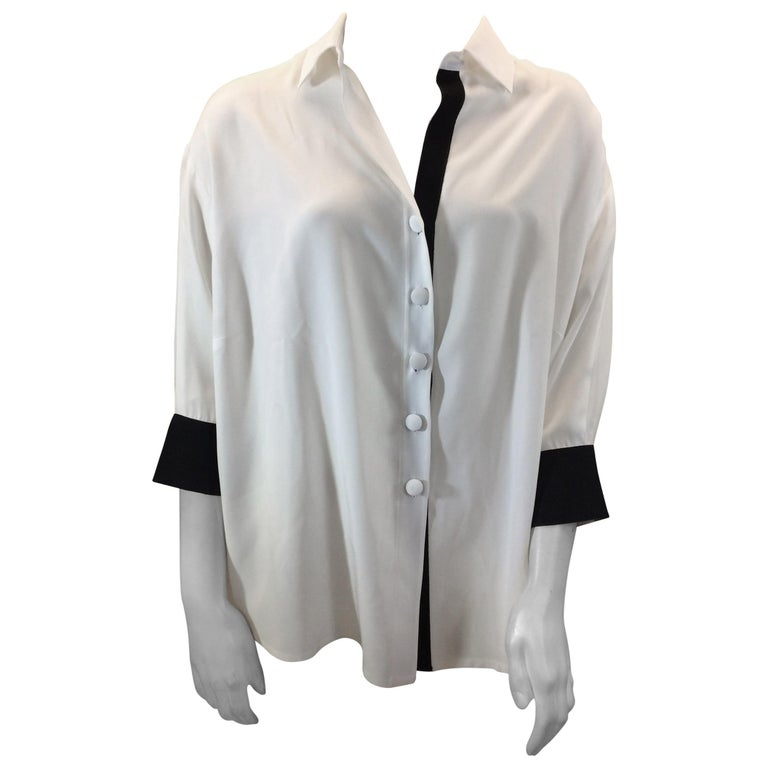 41409266887351 Dovima White SIlk Blouse with Black Trim NWT For Sale at 1stdibs
