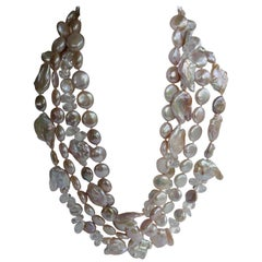 Natural Tones Keshi Cultured Pearls Rock Crystal 925 Sterling Silver Necklace