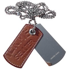 Hermès Sellier Army Military Plate Shaped Necklace Leather Silver Tone Hdw
