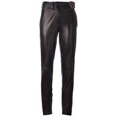 Saint Laurent Black Metallic Lambskin Trousers