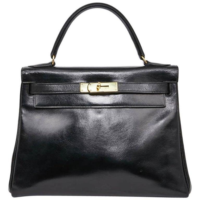 aabdbaf79182 HERMES Vintage Kelly 28 Handle Bag in Black Box Leather For Sale at ...