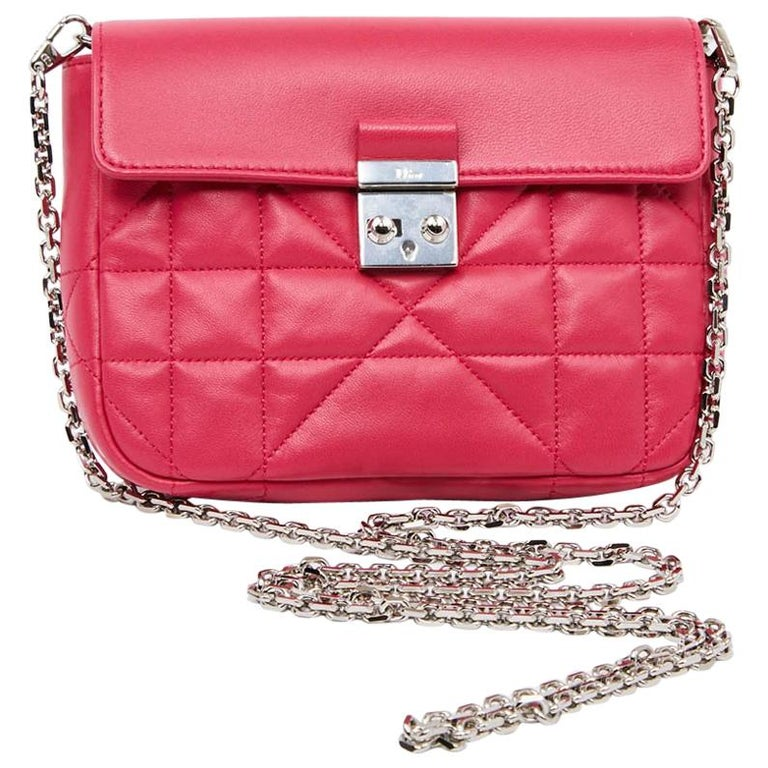 82da250cfe CHRISTIAN DIOR Wallet On Chain Miss Dior Bag in Quilted Soft Pink Leather  For Sale