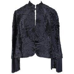 1960s Bepe Création de Paris Black Fringed Persian Lamb Fur Cape Jacket