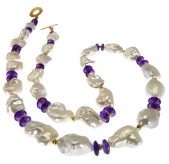 Necklace of White Iridescent Baroque Pearls and Amethyst Rondels