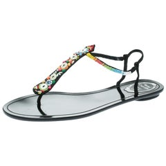 René Caovilla Black Satin Beads Embellished Flat Thong Sandals Size 41
