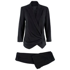 Alexander McQueen Black Ruched Suit US 6