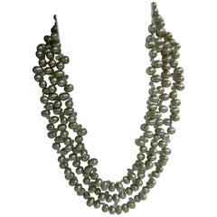 Pale Green Drop Cultured Pearl Beryl Sterling Silver Necklace