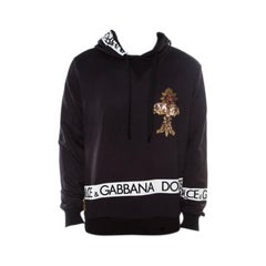 Dolce and Gabbana Navy Blue Logo Printed Cotton Embellished Hoodie XL