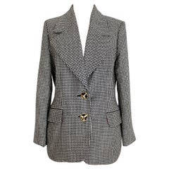 1990s Moschino Black and White Pied de Poule Houndstooth Wool Jacket