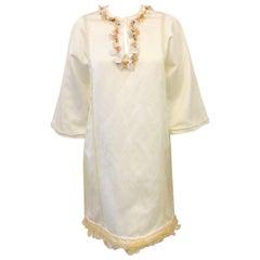 Lanvin Spring Ivory Brushed Cotton V-Neck Shift With Iridescent Paillettes